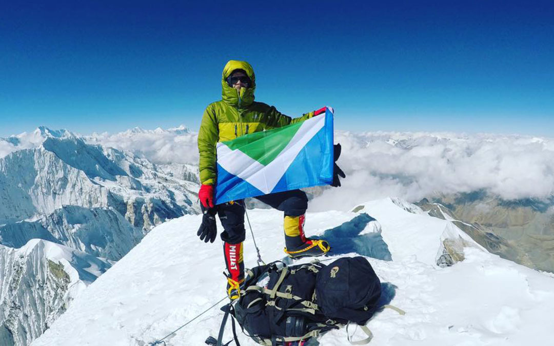 Flying the vegan flag on Himalayas mountain peak